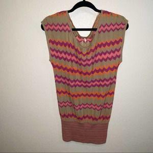 Orange Purple Beige Free People 70's Dancing Chevron Sweater Top Small